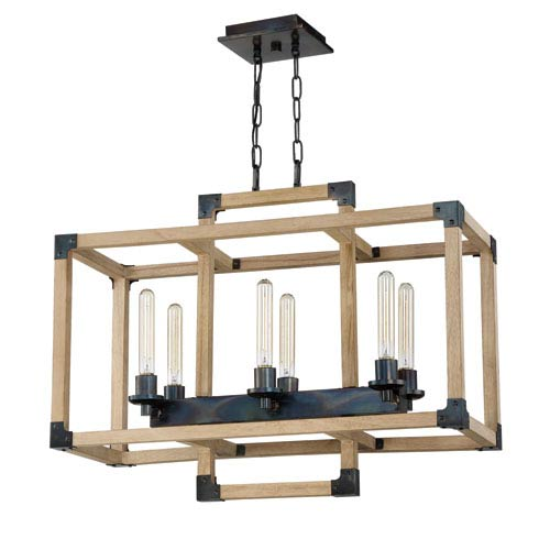 Cubic Fired Steel and Natural Wood 30-Inch Six-Light Island Pendant