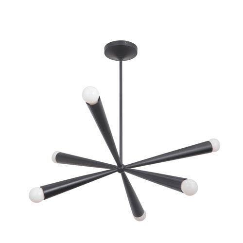 Nova Gloss Black 30-Inch Six-Light Chandelier