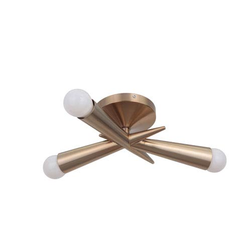 Nova Satin Rose Gold 16-Inch Three-Light Semi-Flush
