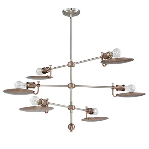 Eclipse Polished Nickel and Satin Rose Gold 44-Inch Six-Light Chandelier