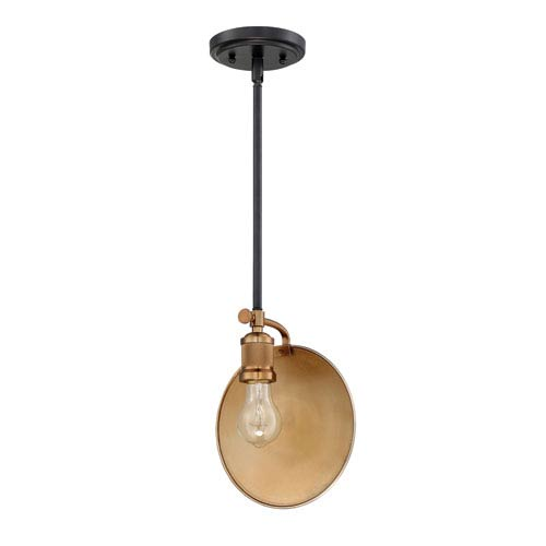 Eclipse Flat Black and Patina Aged Brass 4-Inch One-Light Mini Pendant
