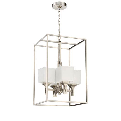 Urbane Brushed Polished Nickel 15-Inch Four-Light Foyer