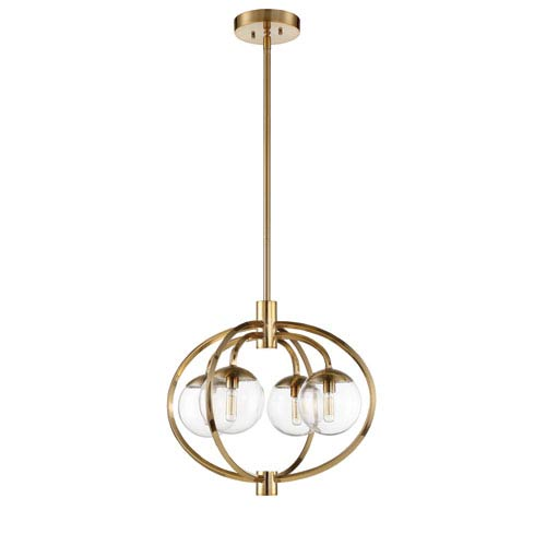 Piltz Satin Brass 22-Inch Four-Light Pendant