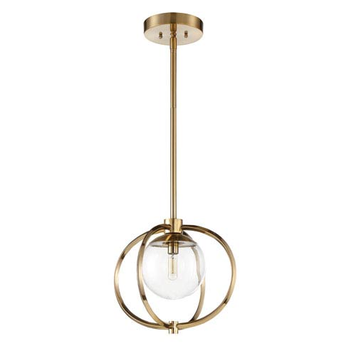 Piltz Satin Brass 15-Inch One-Light Pendant