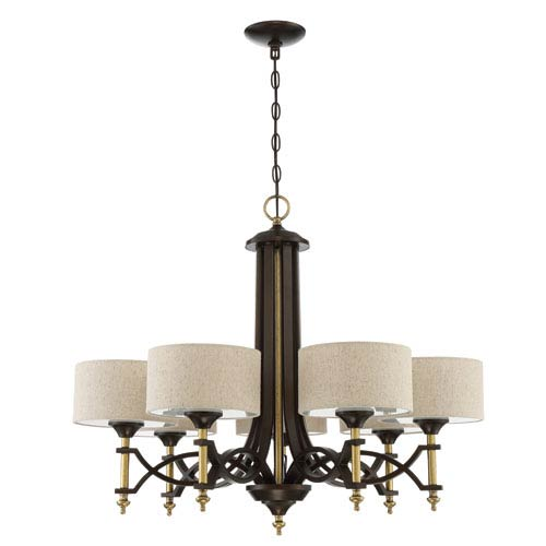 Colonial Antique Gold and Bronze 32-Inch Seven-Light Chandelier