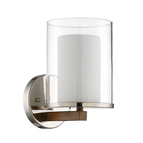 Lark Polished Nickel and Whiskey Barrel 6-Inch One-Light Wall Sconce