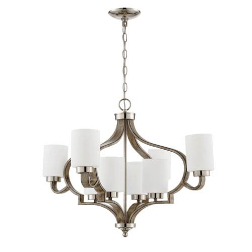 Jasmine Polished Nickel and Weathered Fir 30-Inch Eight-Light Chandelier