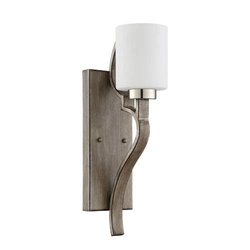 Jasmine Polished Nickel and Weathered Fir 5-Inch One-Light Wall Sconce