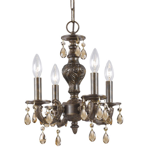 Sutton Venetian Bronze Ornate Mini Chandelier Draped with Golden Teak Crystal