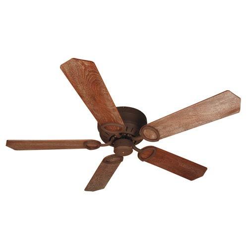 Universal Hugger Rustic Iron Ceiling Fan with 52-Inch Custom Wood Washed Walnut Birch Blades