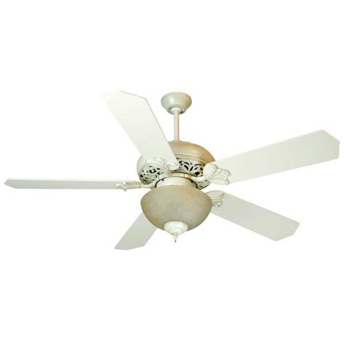 Craftmade Mia Antique White Distressed Ceiling Fan with 52-Inch Standard Antique White Blades and Tea-Stained Light Kit