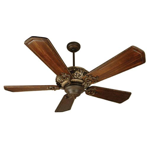 Ophelia Aged Bronze/Vintage Madera Ceiling Fan with 56-Inch Custom Carved Ophelia Walnut/Vintage Madera Blades