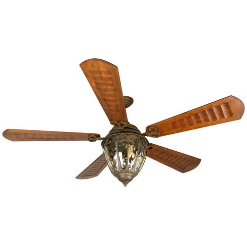 Craftmade Olivier Aged Bronze Ceiling Fan with 70-Inch Custom Carved Scalloped Walnut Blades
