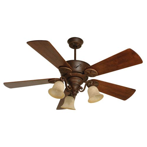 Craftmade Chaparral Aged Bronze Ceiling Fan with 54-Inch Premier Hand-Scraped Walnut Blades and LED Light Kit