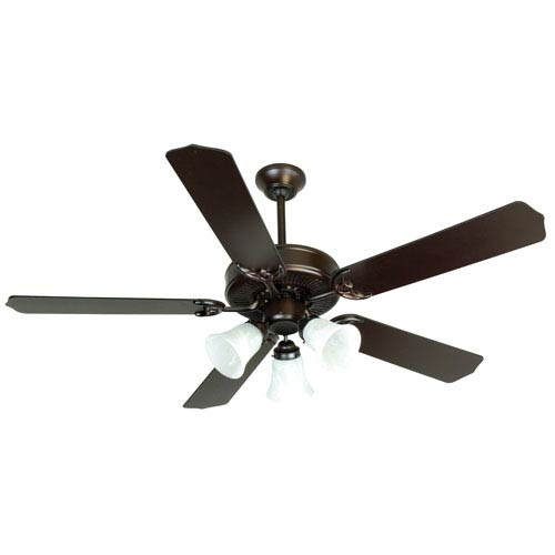 Craftmade Oiled Bronze Ceiling Fan with 52-Inch Contractors Design Oiled Bronze Blades and Alabaster Light Kit