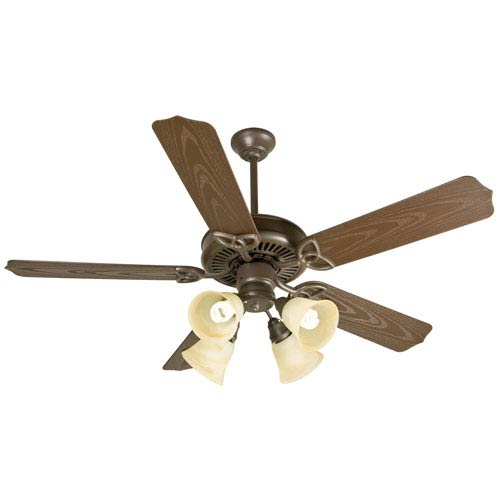 Craftmade Outdoor Patio Fan Brown Ceiling Fan with 52-Inch Standard Brown Blades and Outdoor Fitter/Glass