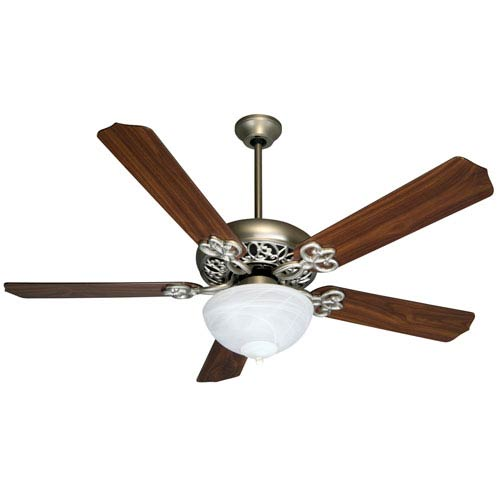 Craftmade Brushed Nickel Ceiling Fan with 52-Inch Contractors Design Walnut Blades and Bowl Light Kit
