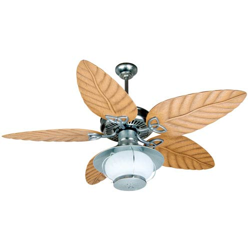 Outdoor Patio Fan Galvanized Ceiling Fan with 54-Inch Tropic Isle Light Oak Blades and Bowl Light Kit