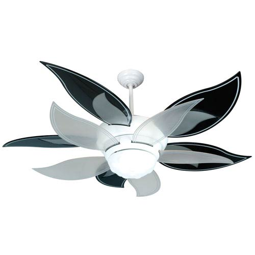 Bloom White Ceiling Fan with 52-Inch Black and Clear Blades