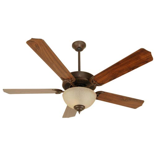 Craftmade Aged Bronze Ceiling Fan with 52-Inch Contractors Design Walnut Blades and Tea-Stained Bowl Light Kit