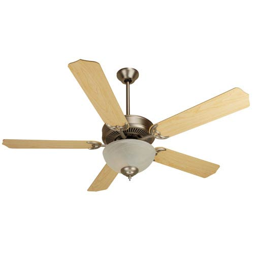 Craftmade Brushed Nickel Ceiling Fan with 52-Inch Contractors Design Maple Blades and Energy Saving Alabaster Bowl Kit