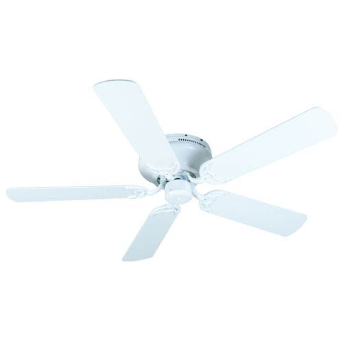 Craftmade Contemporary Flushmount White Ceiling Fan With 52 Inch Plus  Series White Blades