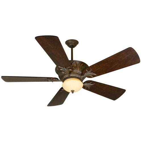 Craftmade Pavilion Aged Bronze Ceiling Fan with 54-Inch Premier Distressed Walnut Blades