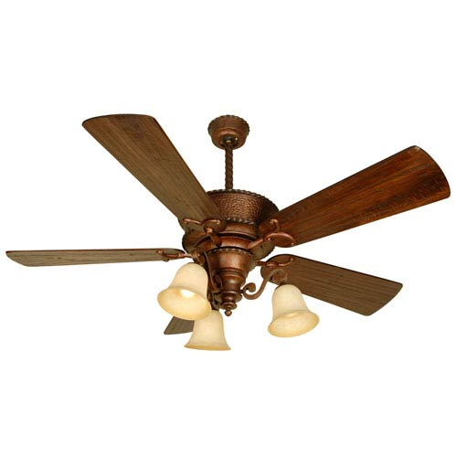 Craftmade Riata Burnt Sienna Ceiling Fan with 54-Inch Premier Distressed Walnut Blades and LED Light Kit