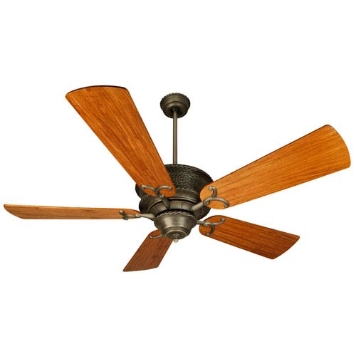 Riata Pewter Ceiling Fan with 54-Inch Premier Hand-Scraped Oak Blades