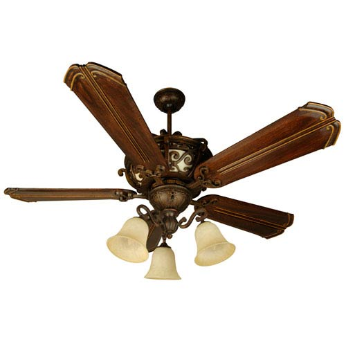Craftmade Toscana Peruvian Ceiling Fan with 56-Inch Custom Carved Chamberlain Walnut Blades and LED Light Kit