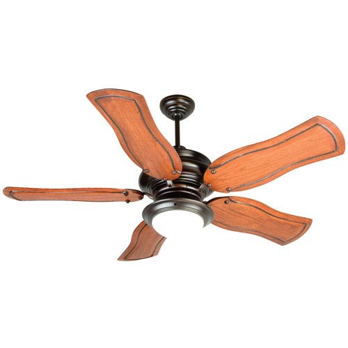 Craftmade Townsend Oiled Bronze Ceiling Fan with 54-Inch Custom Carved Constantina Mahogany Blades and LED Light Kit