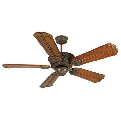Craftmade Chaparral Aged Bronze Ceiling Fan with 56-Inch Custom Carved Chamberlain Oak Blades