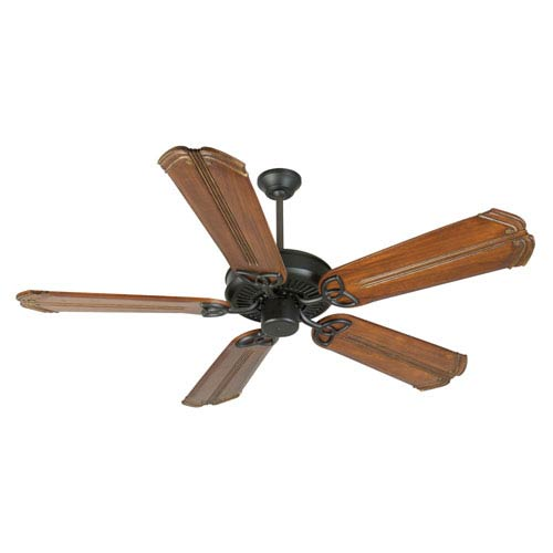 Craftmade CXL Flat Black Ceiling Fan with 56-Inch Custom Carved Chamberlain Oak Blades
