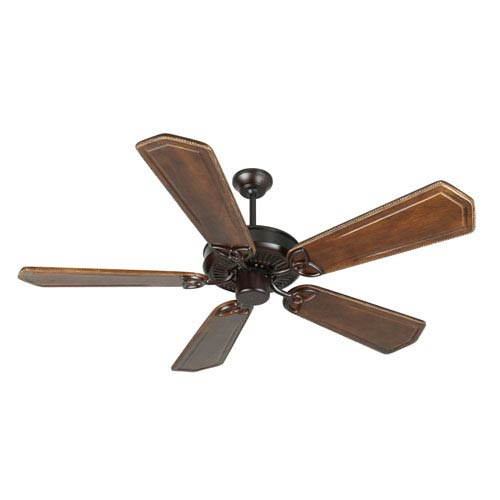 Craftmade CXL Oiled Bronze Ceiling Fan with 56-Inch Custom Carved Ophelia Walnut/Vintage Madera Blades
