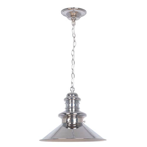 Chrome 13-Inch One-Light Pendant with Chrome Metal Shade