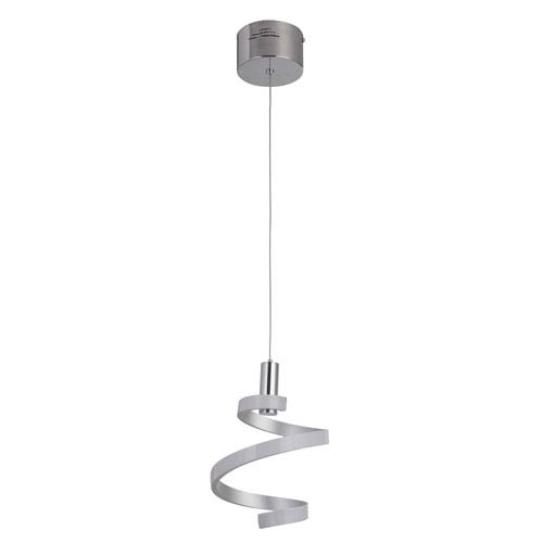 Matte Silver and Chrome 8-Inch LED Mini Pendant