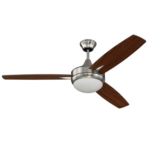Targas Brushed Polished Nickel 52-Inch LED Ceiling Fan with Three Blades
