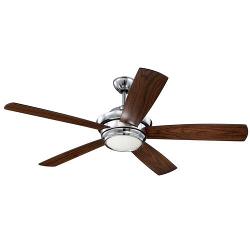 Tempo Chrome 52-Inch LED Ceiling Fan with Five Blades