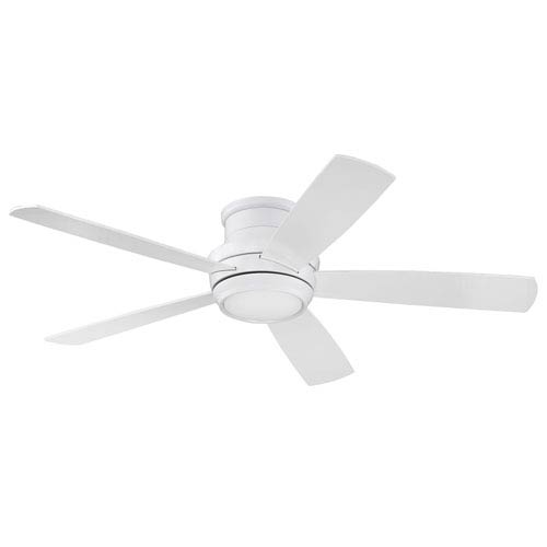Tempo White 52-Inch LED Ceiling Fan with Five Blades