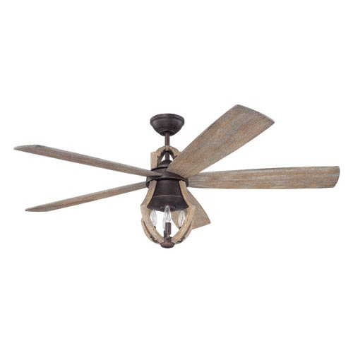 Winton Aged Bronze Brushed 56-Inch Three-Light Ceiling Fan with Five Blades