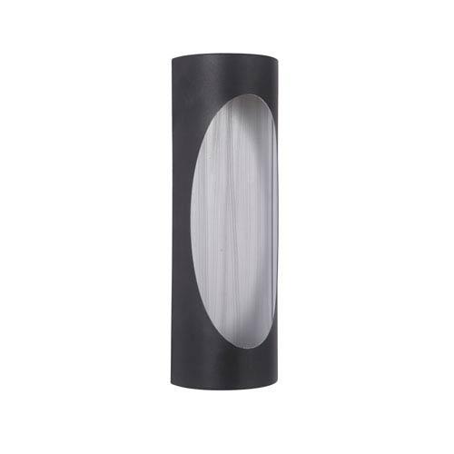 Ellipse Matte Black and Brushed Aluminum 14-Inch Outdoor LED Pocket Sconce