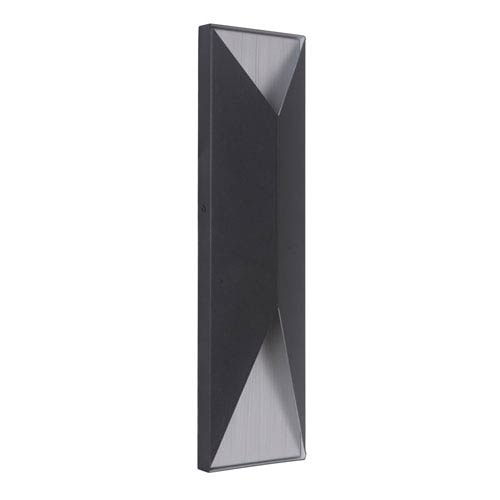 Peak Matte Black and Brushed Aluminum 18-Inch Outdoor LED Pocket Sconce