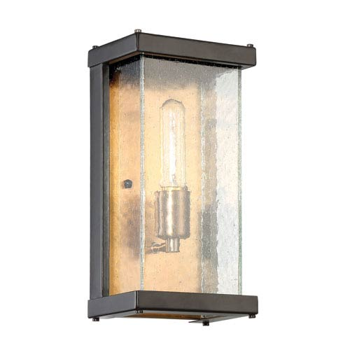 Farnsworth Midnight and Patina Aged Brass 6-Inch One-Light Outdoor Wall Mount
