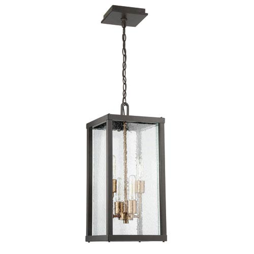 Farnsworth Midnight and Patina Aged Brass 10-Inch Four-Light Outdoor Pendant