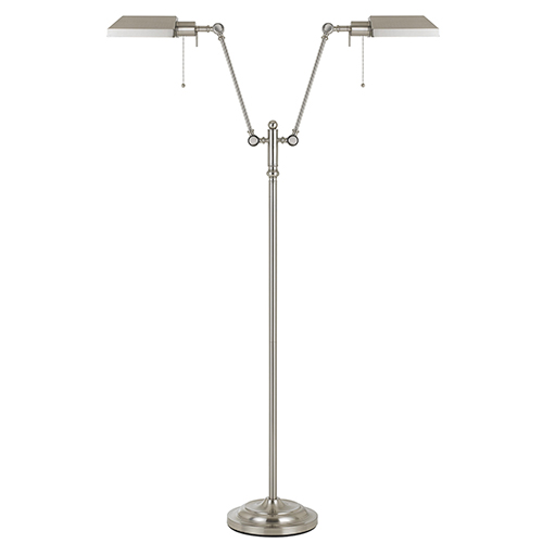 Cal Lighting Pharmacy Brushed Steel 62 Inch Two Light Floor Lamp