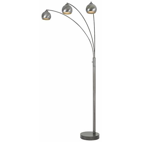 Cal Lighting Antiqued Silver Three-Light Arc Floor Lamp
