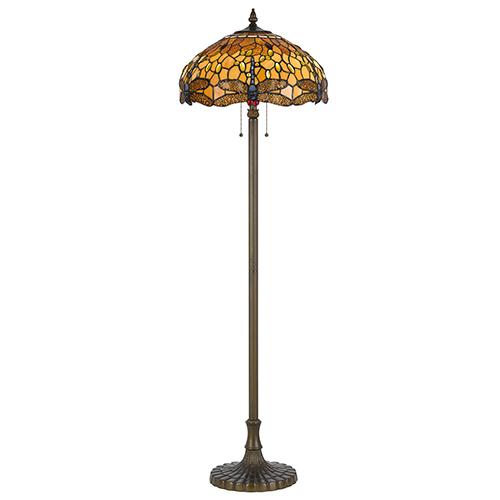 Cal Lighting Tiffany Antique Brass Two-Light Floor Lamp