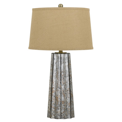 Bradenton Antique Silver and Beige One-Light Table lamp