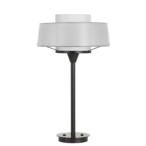 Dark Bronze One-Light Table Lamp with Two USB Ports