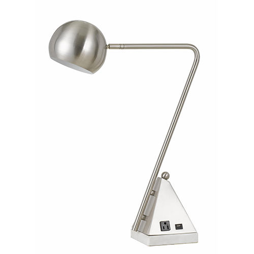 Brushed Steel One-Light Desk Lamp with Outlet and USB Port